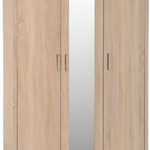Lisbon Oak Veneer 3 Door Wardrobe