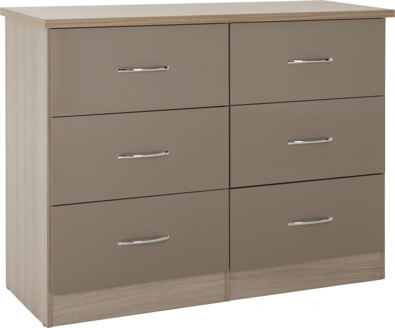Nevada Oyster Gloss 6 Drawer Chest