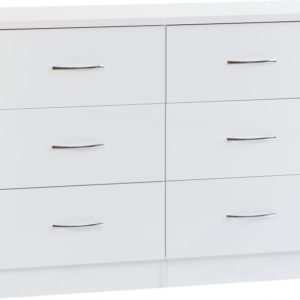 Nevada White Gloss 6 Drawer Chest