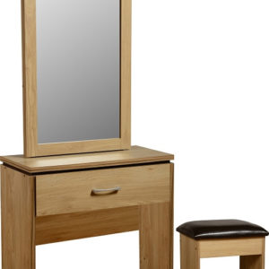 Charles Oak Effect 1 Drawer Dressing Table Set