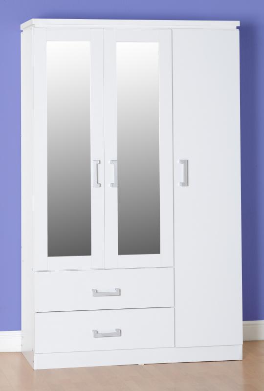 Charley White 3 Door 2 Draw Mirrored Wardrobe *BRAND NEW*