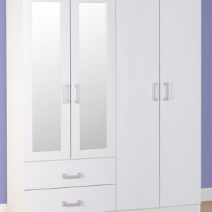 Charley White 4 Door Wardrobe