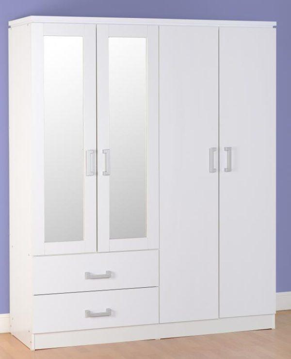 Charley White 4 Door Wardrobe
