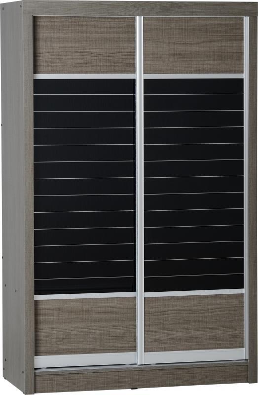 Lisbon Black Wood Grain 2 Door Sliding Wardrobe
