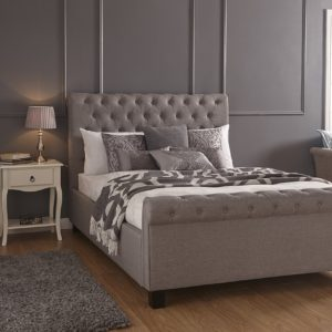 Layla Silver Fabric Scroll Ottoman Bed Frame
