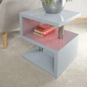 Polar Gloss Grey Led Lamp Table