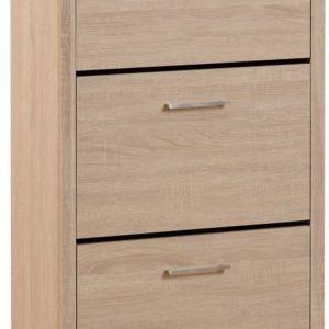 Lisbon Oak Veneer 3 Tier Shoe Cabinet
