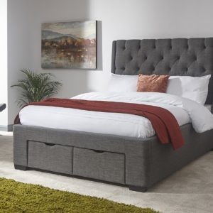 Koln Grey Fabric 2 Draw Bed Frame