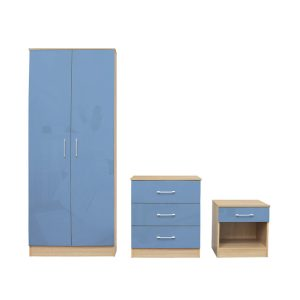 Dakota Blue Gloss Bedroom Set