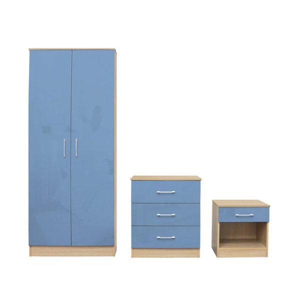Dakota Blue Gloss Bedroom Set