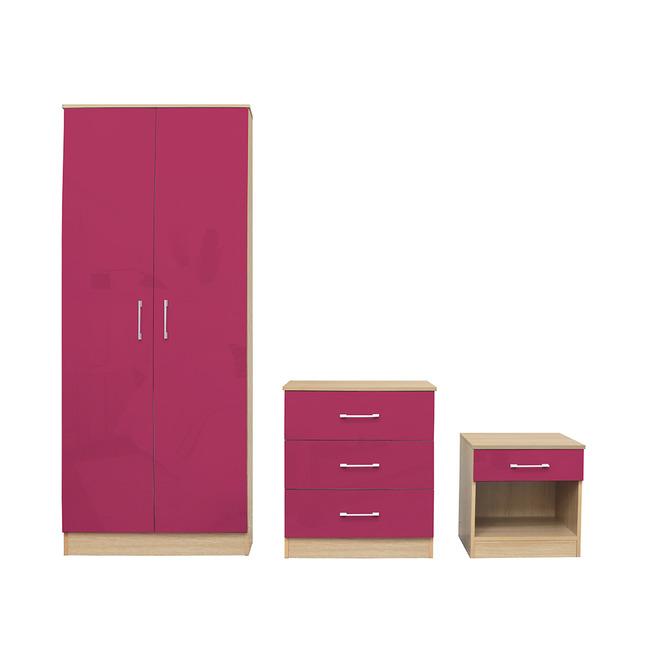Dakota Pink Gloss Bedroom Set
