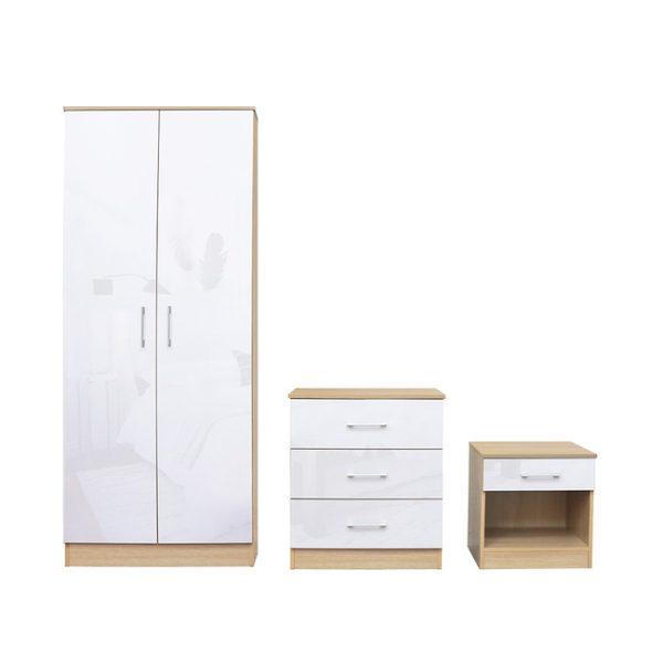 Dakota White Gloss Bedroom Set
