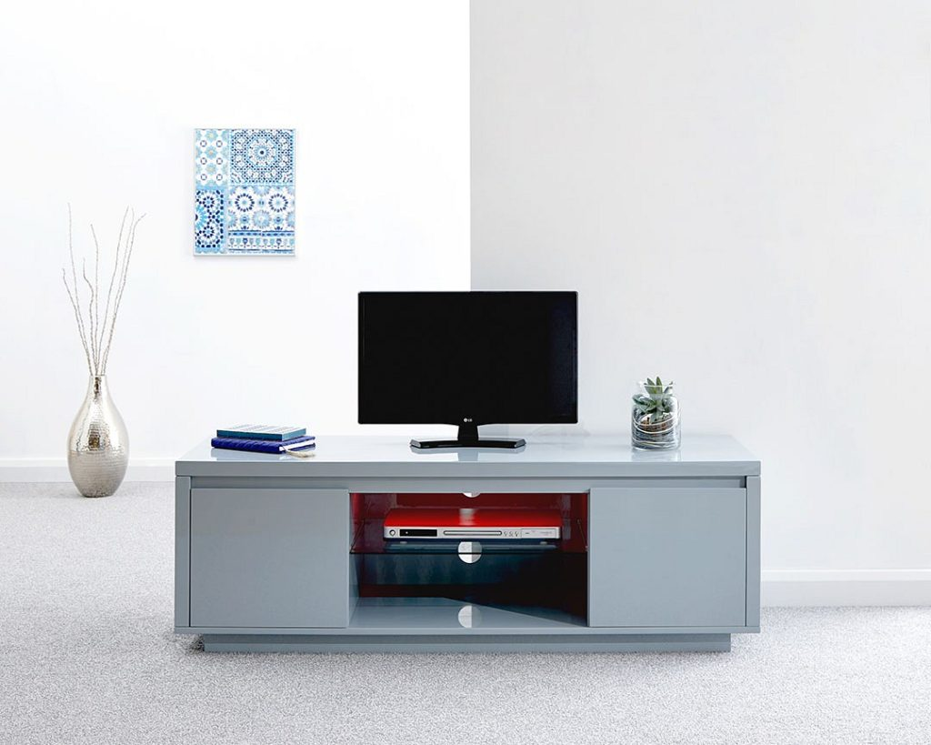Polar Gloss Grey Led Large Tv Stand