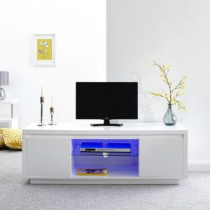 Polar Gloss White Led Large Tv Stand