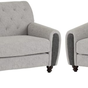 Chester Grey Fabric Sofa Set