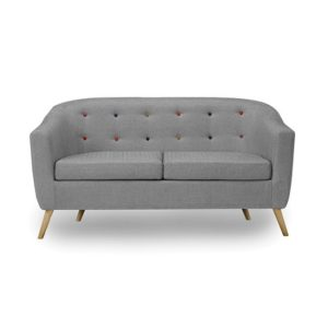 Hudson Grey Fabric 2 Seater Sofa