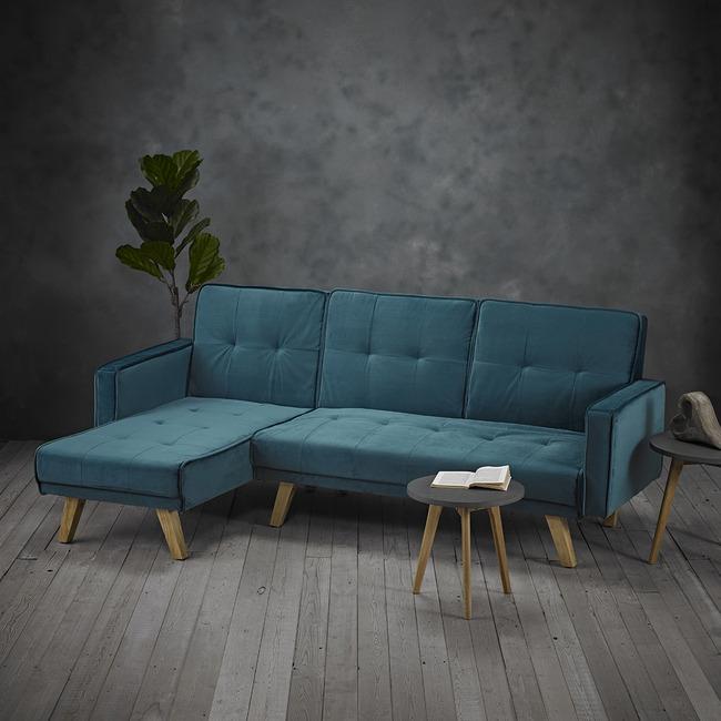 Kitson Teal Velvet Fabric Corner Sofa Bed   One Stop ...