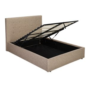 Lucca Beige Fabric Ottoman Bed Frame