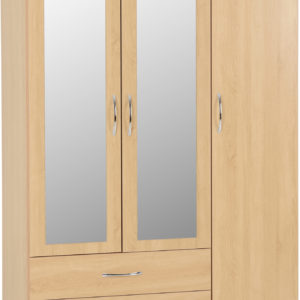 Nevada Oak Veneer 3 Door 2 Draw Wardrobe