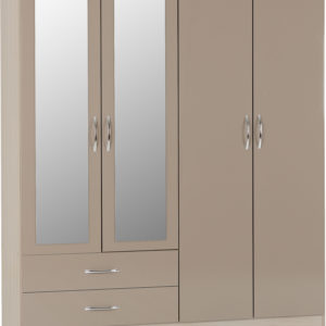 Nevada Oyster Gloss 4 Door 2 Draw Wardrobe