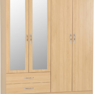 Nevada Oak Veneer 4 Door 2 Draw Wardrobe