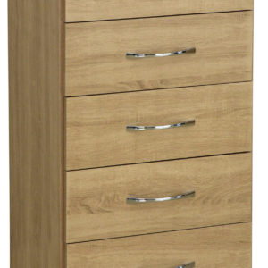Nevada Oak Veneer 5 Drawer Chest