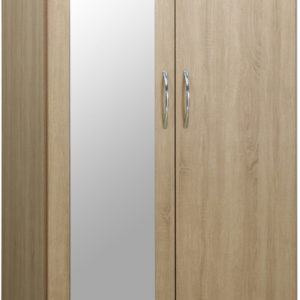 Nevada Oak Veneer 2 Door 1 Draw Mirrored Wardrobe