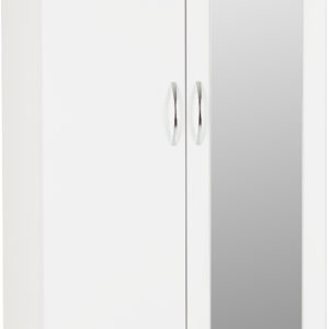Nevada White Gloss 2 Door 1 Draw Mirrored Wardrobe