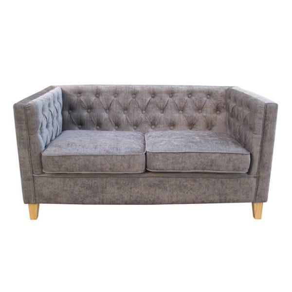 York Grey Fabric 2 Seater Sofa