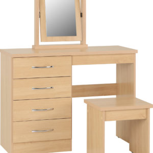 Nevada Oak Veneer 4 Drawer Dressing Table Set -