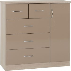Nevada Oyster Gloss 5 Draw Low Wardrobe