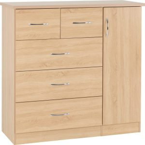 Nevada Oak Veneer 5 Draw Low Wardrobe