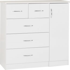 Nevada White Gloss 5 Draw Low Wardrobe