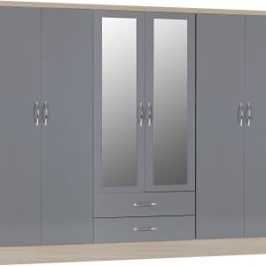 Nevada Grey Gloss 6 Door 2 Draw Wardrobe