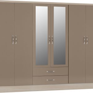 Nevada Oyster Gloss 6 Door 2 Draw Wardrobe
