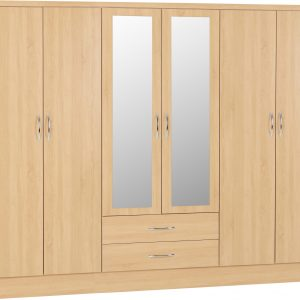 Nevada Oak Veneer 6 Door 2 Draw Wardrobe