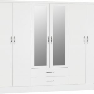 Nevada White Gloss 6 Door 2 Draw Wardrobe