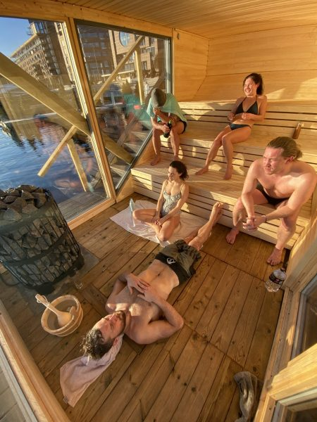 group sitting in the sauna