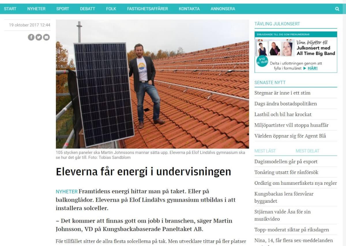"Paneltaket i Kungsbacka Posten. ""Eleverna får energi i undervisningen""."