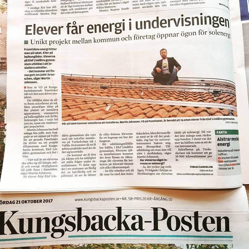 Tidning skolprojekt solceller