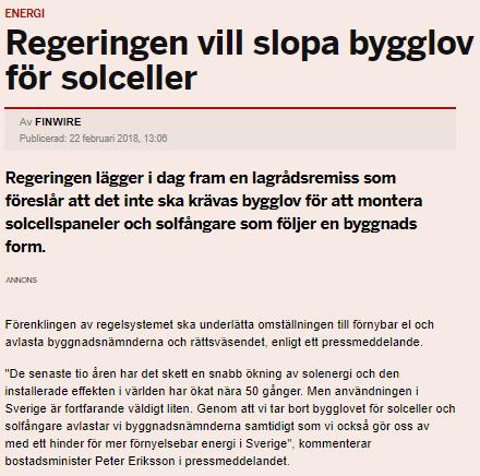 """Bild på artikel """"regeringen vill slopa bygglov för solceller"""""""