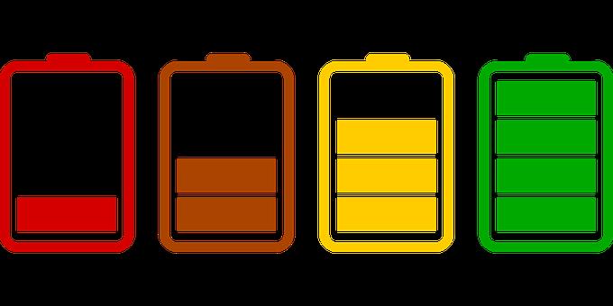 Bilden visar fyra batterier i rött, gult och grönt
