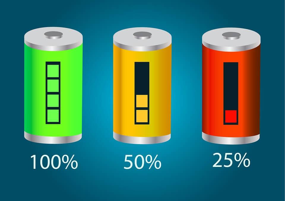 bilden visar solcellsdrivna batterier i grönt, gult och rött.