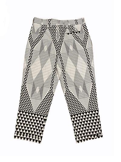 White geometric shapes trousers