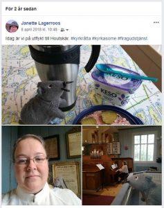 skärmdump av ett facebook inlägg för två år sedan. Kyrkråttan med mellanmål, jag och kyrkråttan och interiör frå Houtskärs kyrka