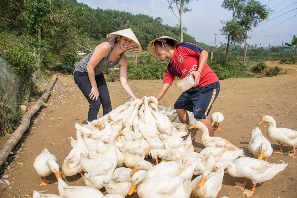 Phong Nha Cycling Tour: feed duck at Duck Stop, Bong Lai Valley