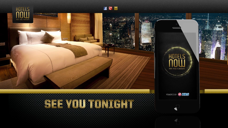 "HRS´s New App ""Hotels Now"""
