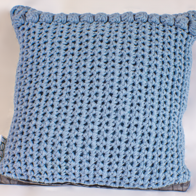 Blue Crocheted cushions with roses