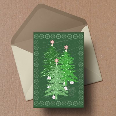 Green Christmas fir trees