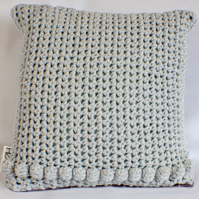 White Crocheted cushions with roses